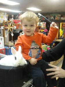Zachary & Max Factor the magic rabbit.