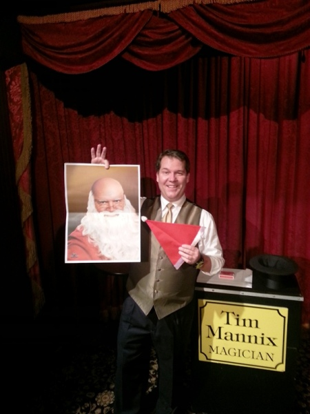 Tim Mannix in the Parlour of Prestidigitation last weekend. He performed Santa's Hat and said it went over very well.